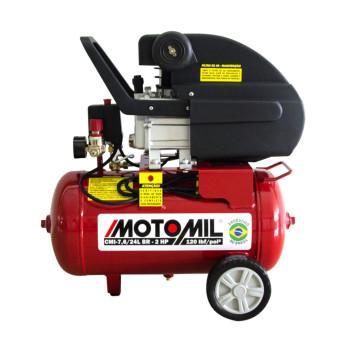 Motocompressor de Ar 2HP Monofásico Bivolt 120PSI CMI 7,6/24 Motomil