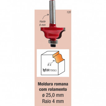 Fresa Tupia Moldura Romana Rolamentada Haste 6mm