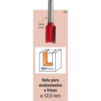 Fresa Tupia Paralela 12mm Haste 6mm