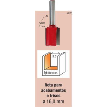Fresa Tupia Paralela 16mm Haste 6mm