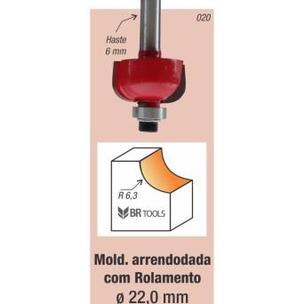 Fresa Tupia Borda Meia Cana Rolamentada 22mm Haste 6mm