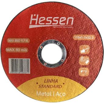 "Disco De Corte Inox/metal 4.1/2""- 1mm Espessura- 7/8"" Furo Padrão- (115x1,x22,2mm) Hessen"